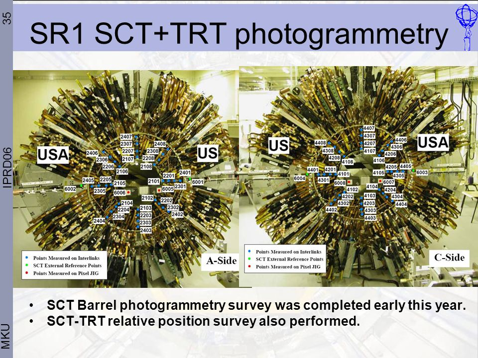 35 MKU IPRD06 SR1 SCT+TRT photogrammetry SCT Barrel photogrammetry survey was completed early this year.