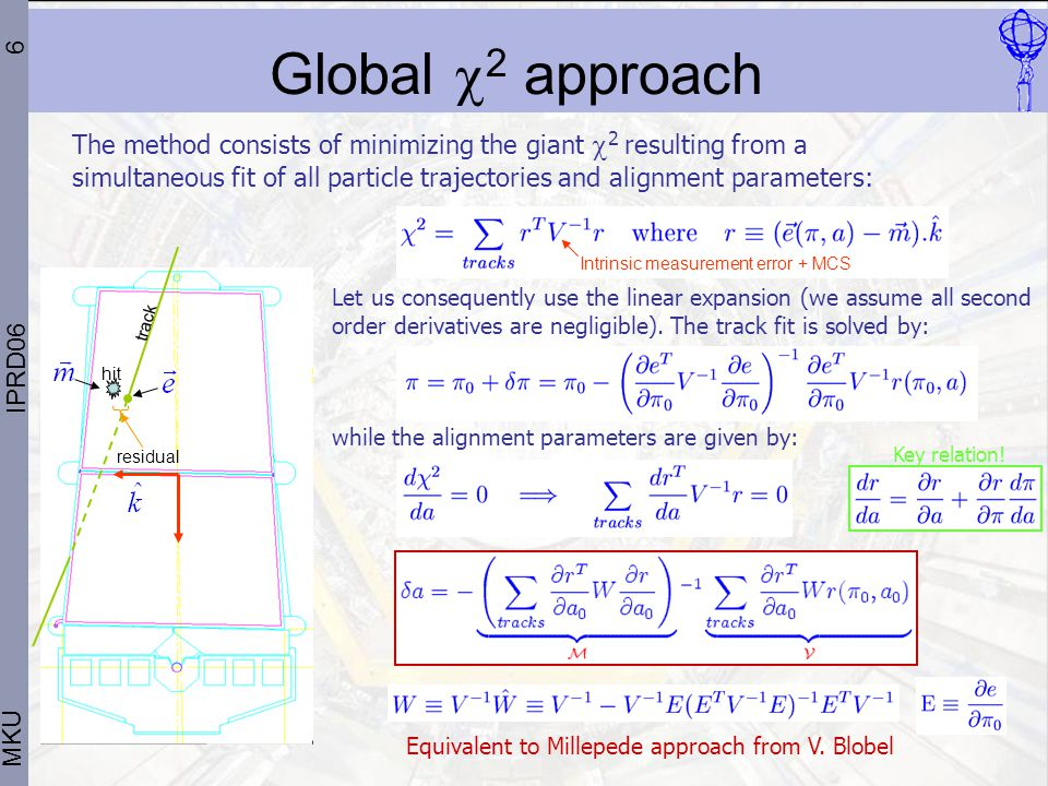 6 MKU IPRD06 Global  2 approach The method consists of minimizing the giant  2 resulting from a simultaneous fit of all particle trajectories and alignment parameters: Let us consequently use the linear expansion (we assume all second order derivatives are negligible).
