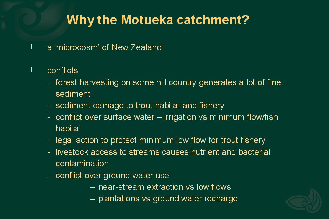Simplified geology and rainfall distribution in the Motueka catchment.