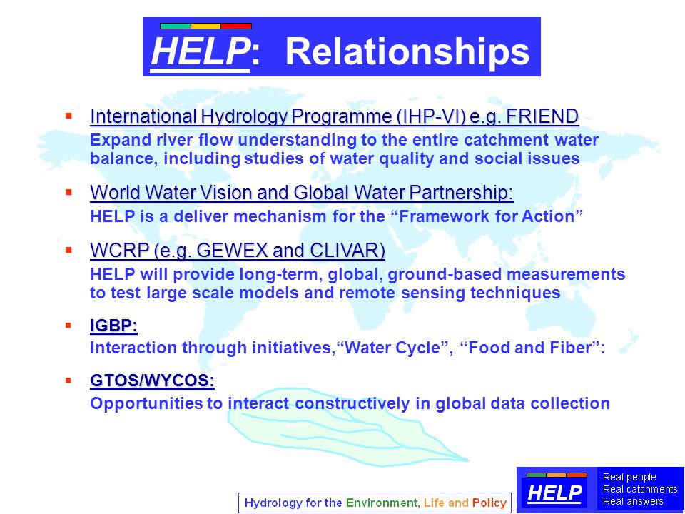  International Hydrology Programme (IHP-VI) e.g.