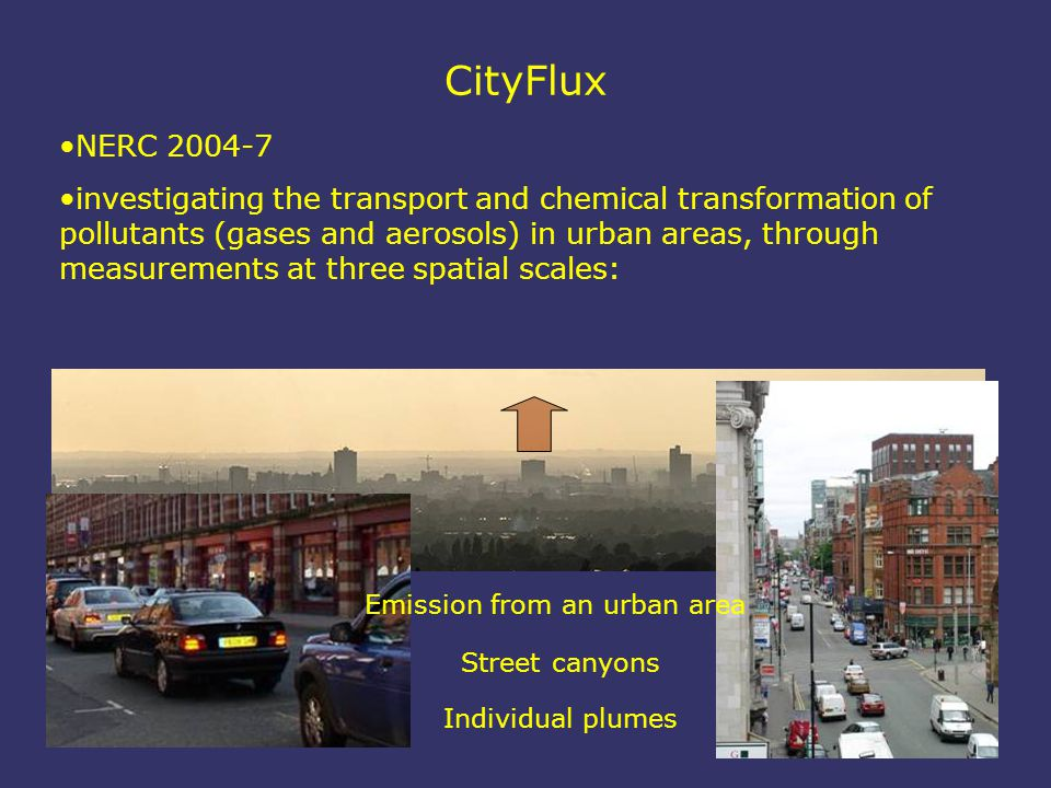 CityFlux NERC 2004-7 investigating the transport and chemical transformation of pollutants (gases and aerosols) in urban areas, through measurements at three spatial scales: Individual plumes Street canyons Emission from an urban area