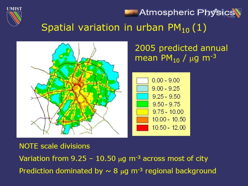 Spatial variation in urban PM 10 (2)