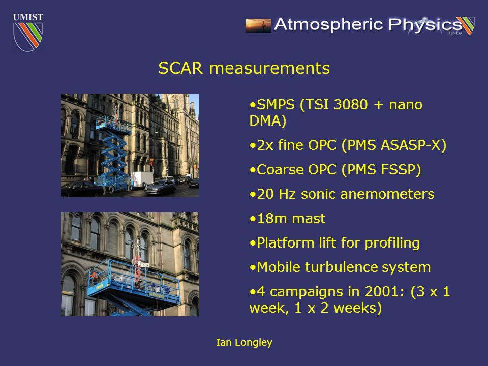 Ian Longley SCAR measurements SMPS (TSI 3080 + nano DMA) 2x fine OPC (PMS ASASP-X) Coarse OPC (PMS FSSP) 20 Hz sonic anemometers 18m mast Platform lift for profiling Mobile turbulence system 4 campaigns in 2001: (3 x 1 week, 1 x 2 weeks)