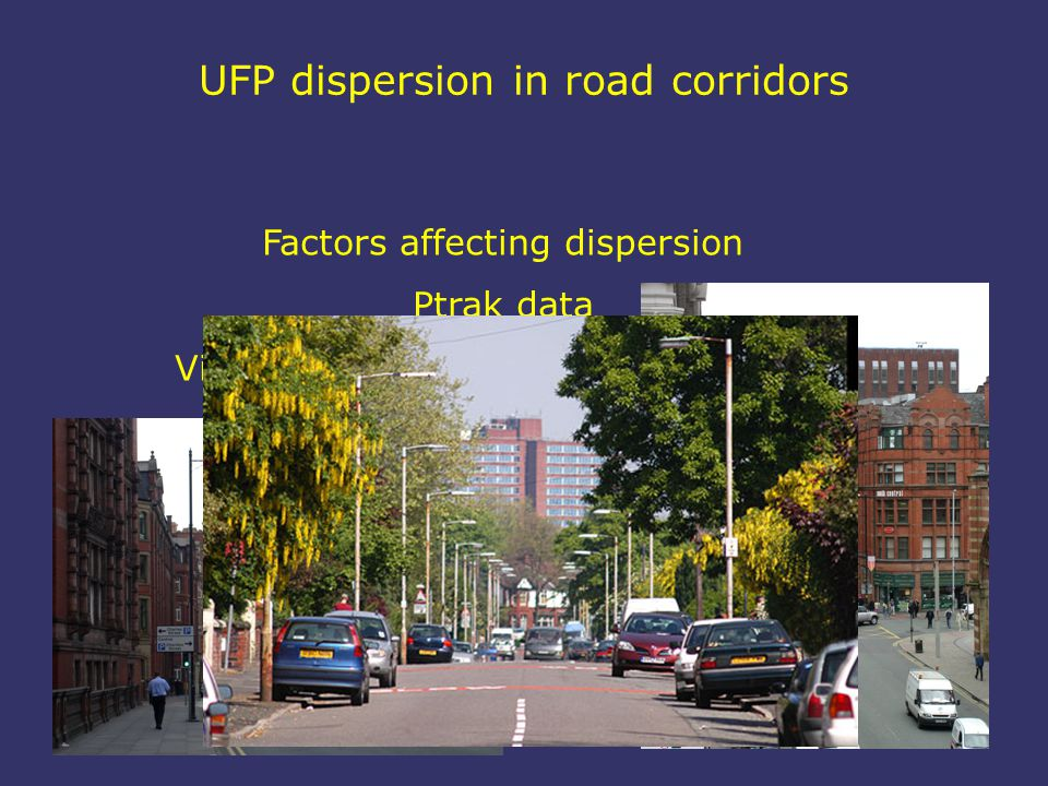 UFP dispersion in road corridors Factors affecting dispersion Ptrak data Visualisation of road corridor concept