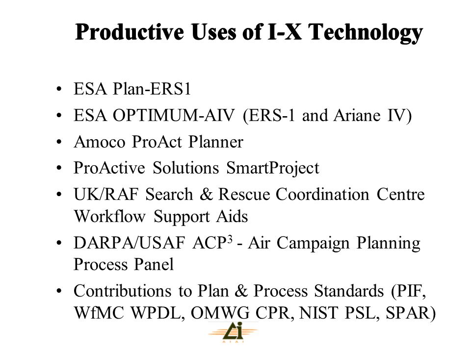 Productive Uses of I-X Technology ESA Plan-ERS1 ESA OPTIMUM-AIV (ERS-1 and Ariane IV) Amoco ProAct Planner ProActive Solutions SmartProject UK/RAF Sea