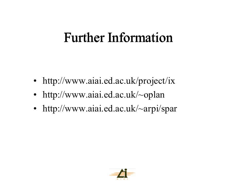 Further Information http://www.aiai.ed.ac.uk/project/ix http://www.aiai.ed.ac.uk/~oplan http://www.aiai.ed.ac.uk/~arpi/spar