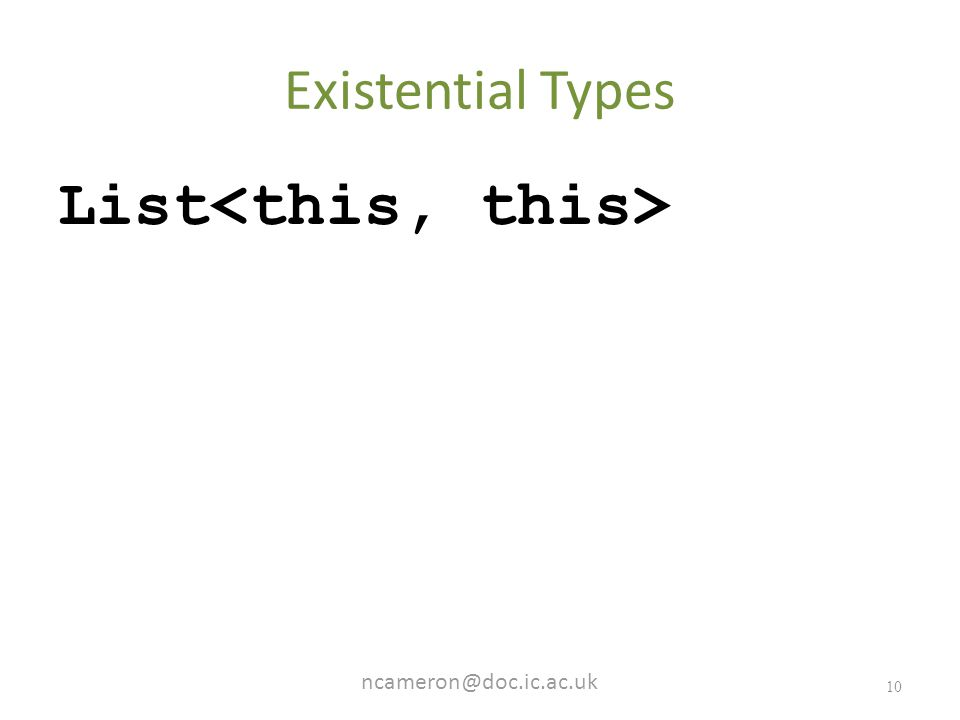 10 Existential Types List