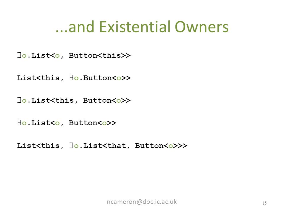 and Existential Owners  o.List > List >  o.List > List >>