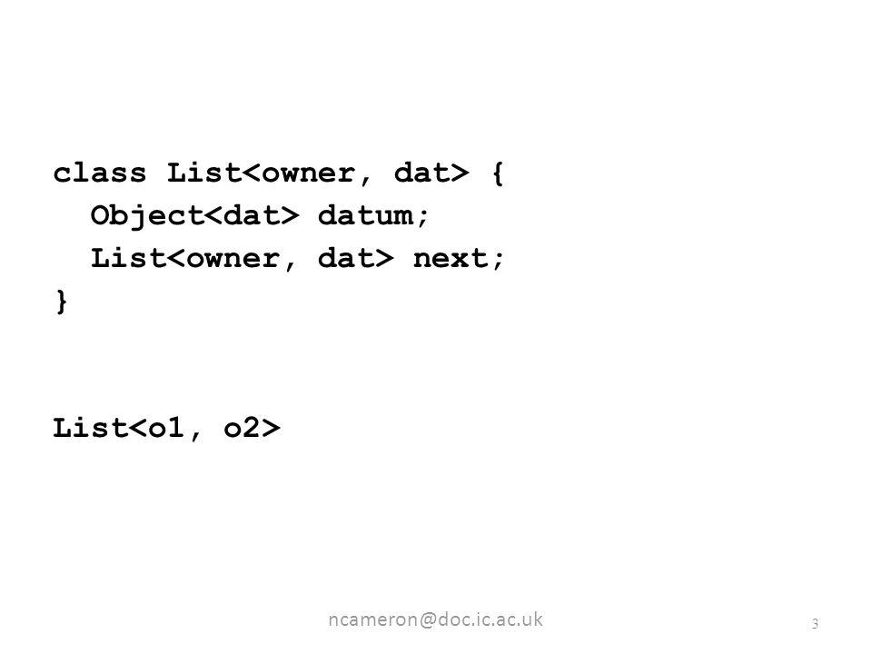 ncameron@doc.ic.ac.uk 3 class List { Object datum; List next; } List