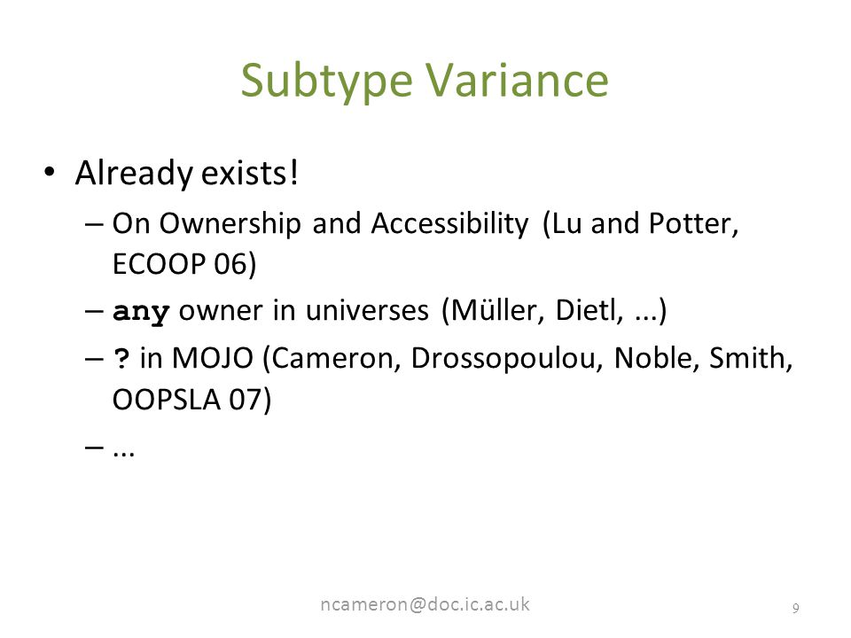 9 Subtype Variance Already exists.