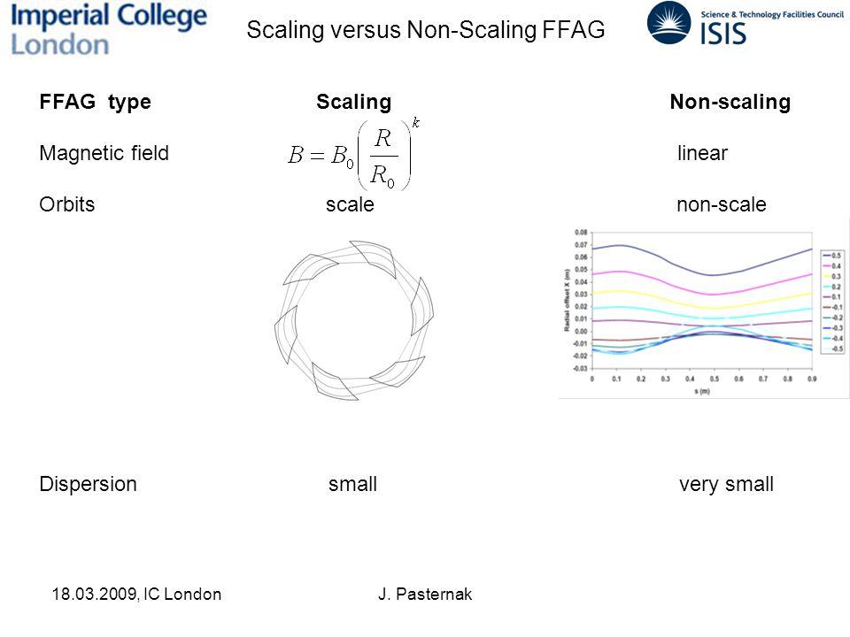 18.03.2009, IC LondonJ. Pasternak Scaling versus Non-Scaling FFAG FFAG type Scaling Non-scaling Magnetic field linear Orbits scale non-scale Dispersio