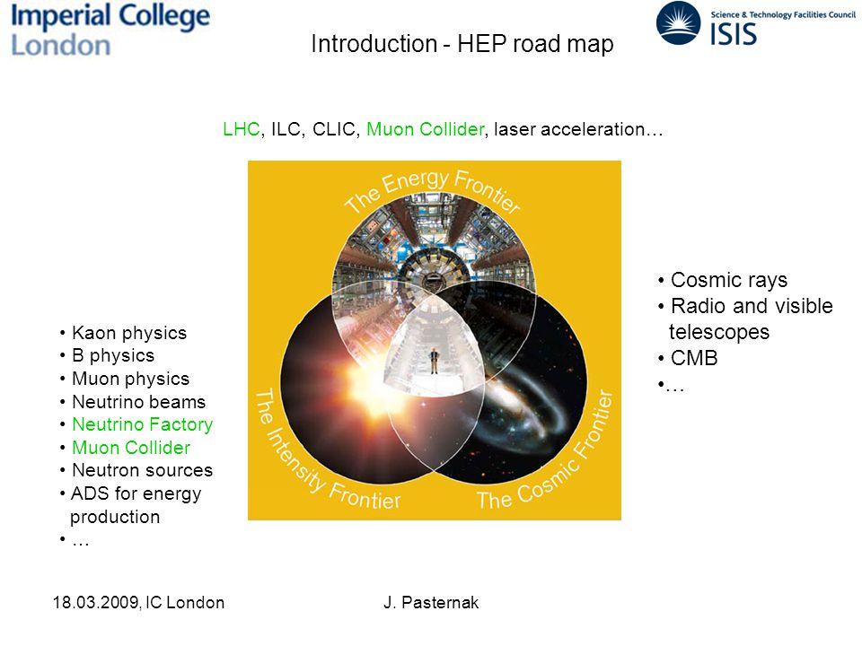 18.03.2009, IC LondonJ. Pasternak Kaon physics B physics Muon physics Neutrino beams Neutrino Factory Muon Collider Neutron sources ADS for energy pro