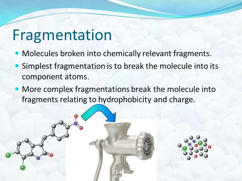 Fragmentation Molecules broken into chemically relevant fragments.