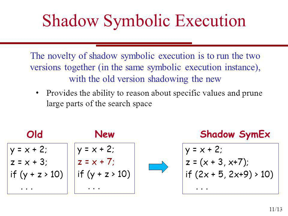 Shadow Symbolic Execution y = x + 2; z = x + 3; if (y + z > 10)... The novelty of shadow symbolic execution is to run the two versions together (in th