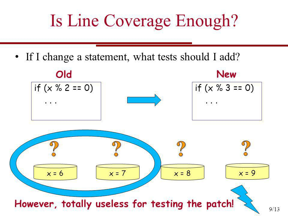 Is Line Coverage Enough? if (x % 2 == 0)... if (x % 3 == 0)... x = 6x = 7x = 8 x = 9 However, totally useless for testing the patch! If I change a sta