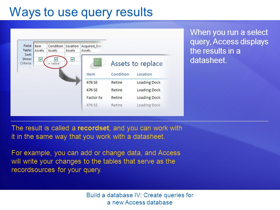 Build a database IV: Create queries for a new Access database Ways to use query results When you run a select query, Access displays the results in a