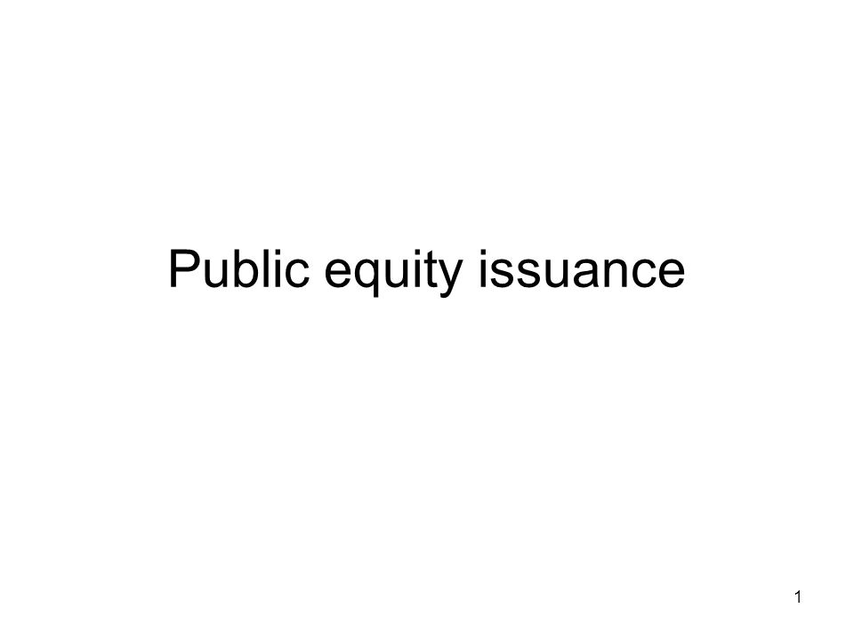 1 Public equity issuance