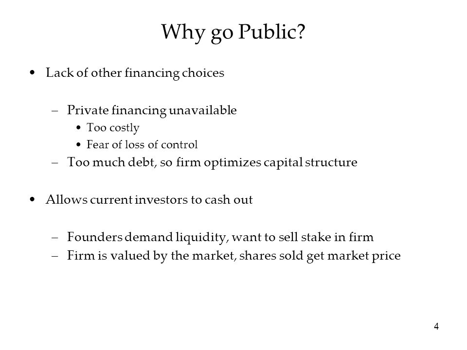 5 Future source of capital –Establish the firm in public capital markets for future capital raising (SEOs, bond issuances) –Diversification / Risk sharing –Increases transparency of firm actions Employee compensation –Firm can offer incentive contracts – stock options