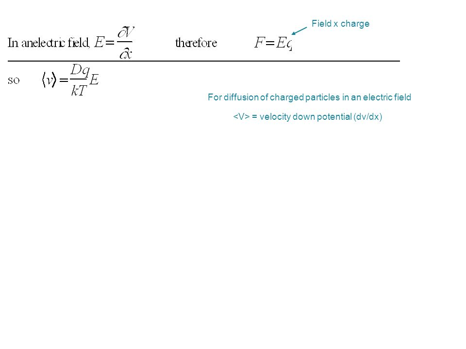 For diffusion of charged particles in an electric field = velocity down potential (dv/dx)