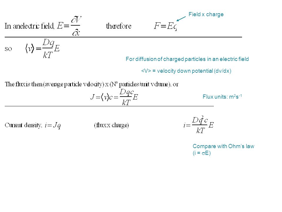 Field x charge Flux units: m 2 s -1 Compare with Ohm's law (i =  E) For diffusion of charged particles in an electric field = velocity down potential