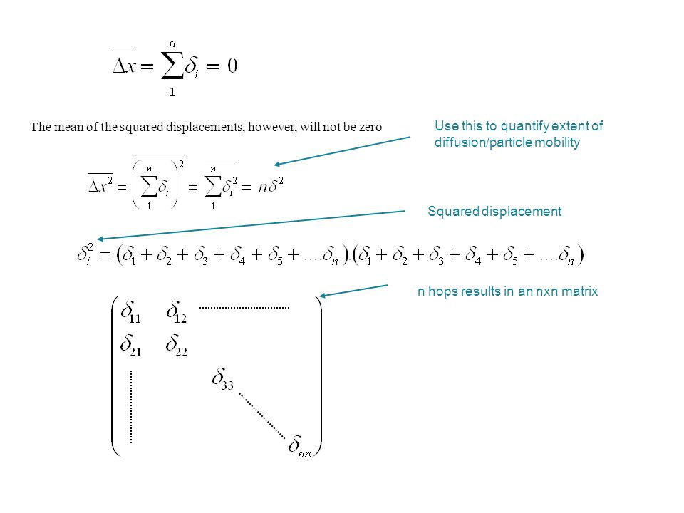 The mean of the squared displacements, however, will not be zero Use this to quantify extent of diffusion/particle mobility Squared displacement n hop