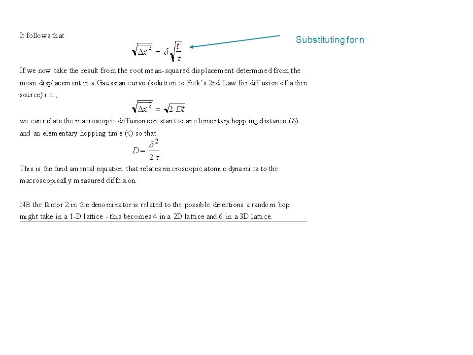 Substituting for n