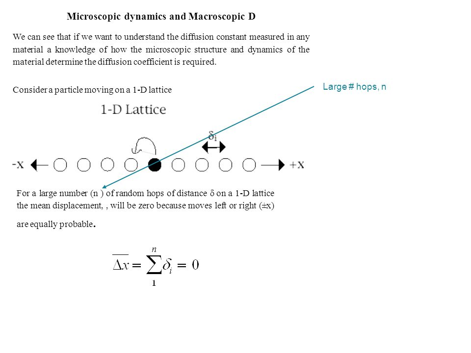 Microscopic dynamics and Macroscopic D We can see that if we want to understand the diffusion constant measured in any material a knowledge of how the