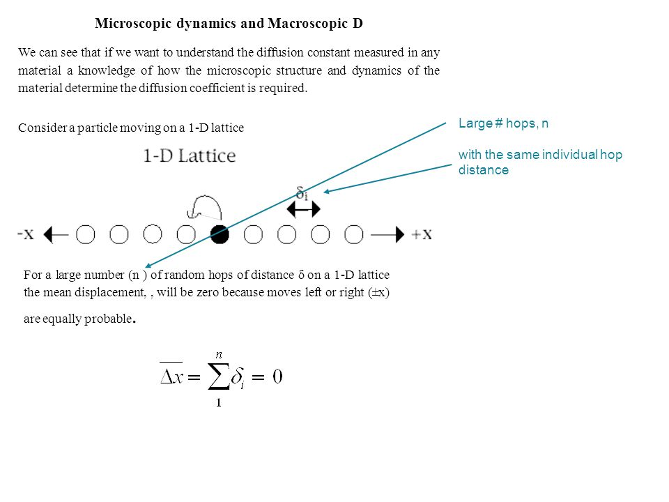 Microscopic dynamics and Macroscopic D We can see that if we want to understand the diffusion constant measured in any material a knowledge of how the microscopic structure and dynamics of the material determine the diffusion coefficient is required.