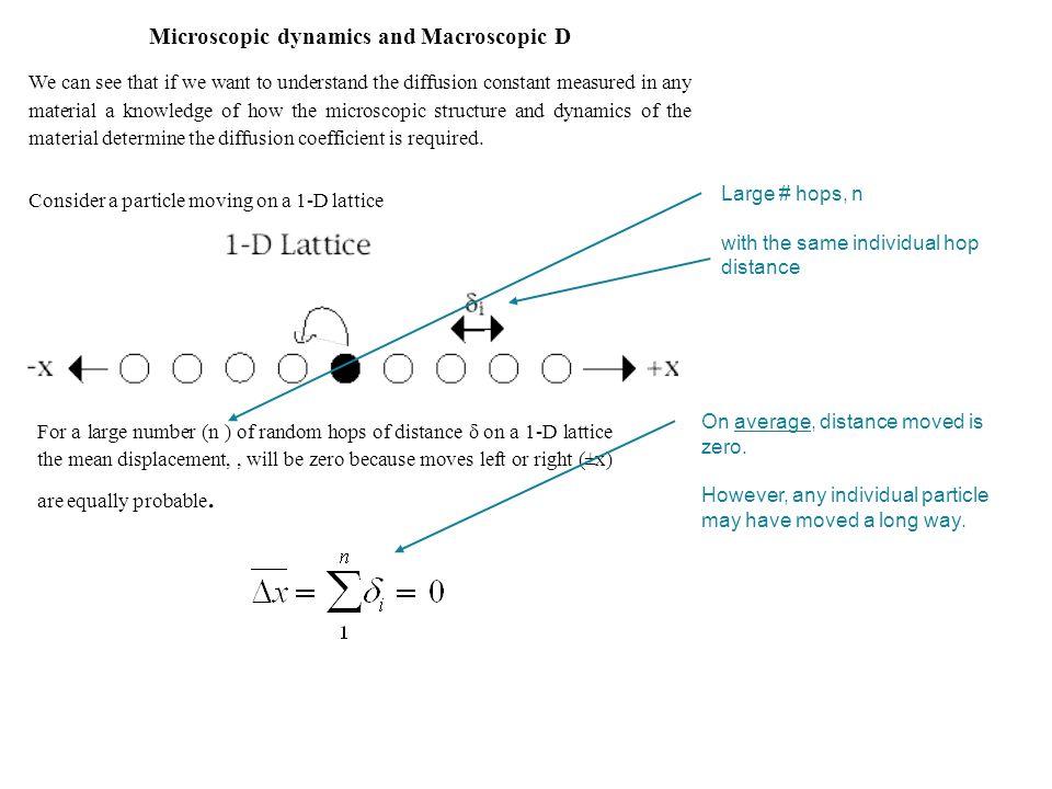 For interstitial diffusion: measure D as a function of temperature Plot log e D vs 1/T gradient
