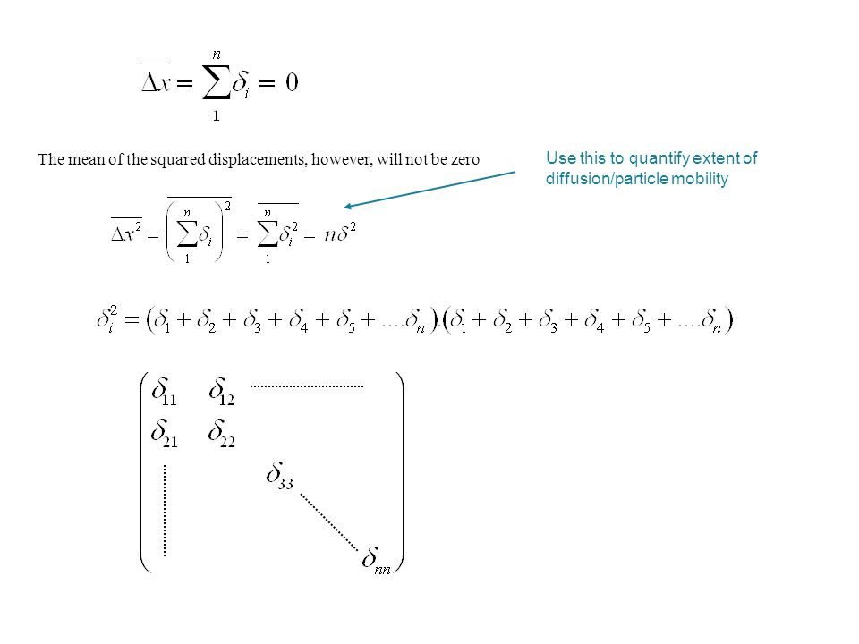 The mean of the squared displacements, however, will not be zero Use this to quantify extent of diffusion/particle mobility Squared displacement