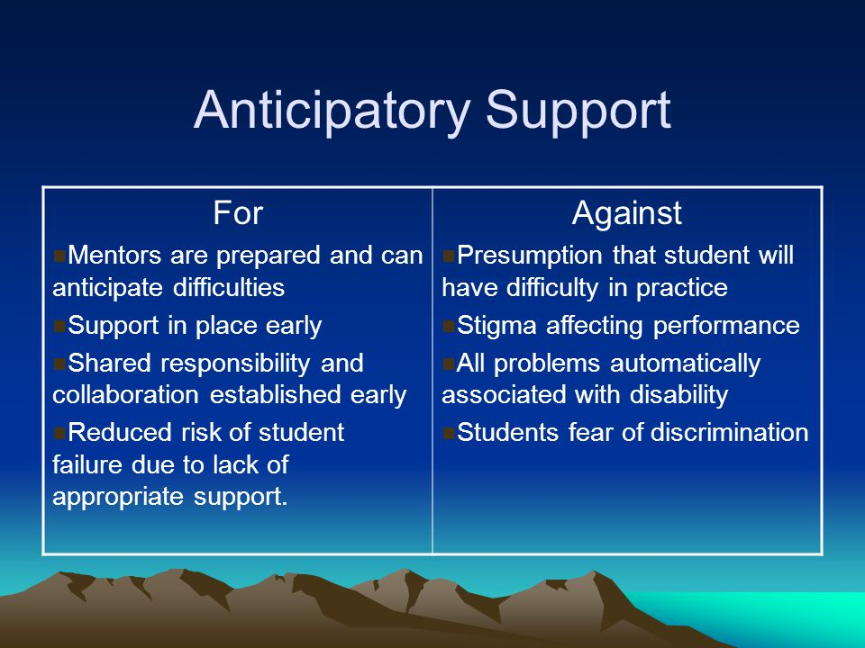 Anticipatory Support For Mentors are prepared and can anticipate difficulties Support in place early Shared responsibility and collaboration establish