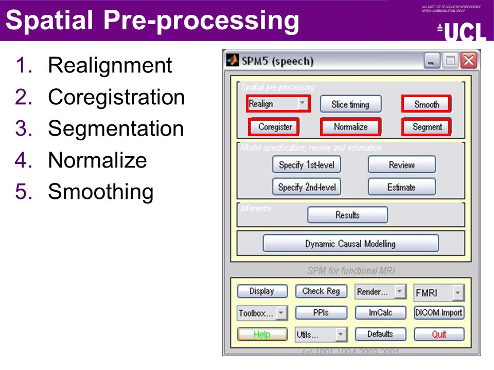 1.Realignment 2.Coregistration 3.Segmentation 4.Normalize 5.Smoothing Spatial Pre-processing