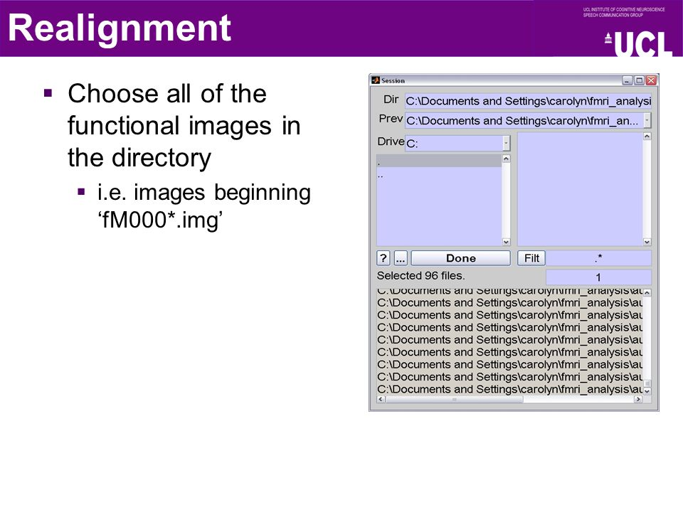 Realignment  Choose all of the functional images in the directory  i.e. images beginning 'fM000*.img'