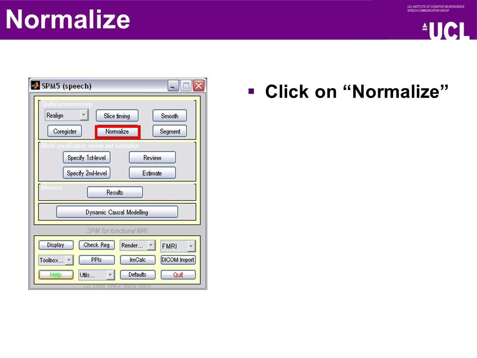 """ Click on """"Normalize"""" Normalize"""