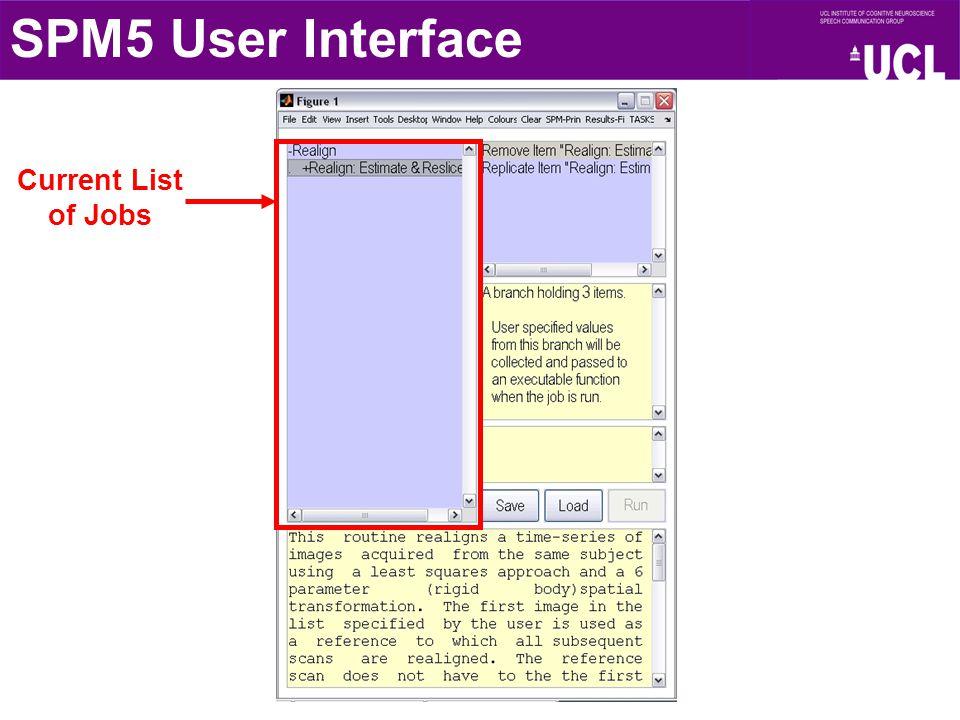 Current List of Jobs SPM5 User Interface