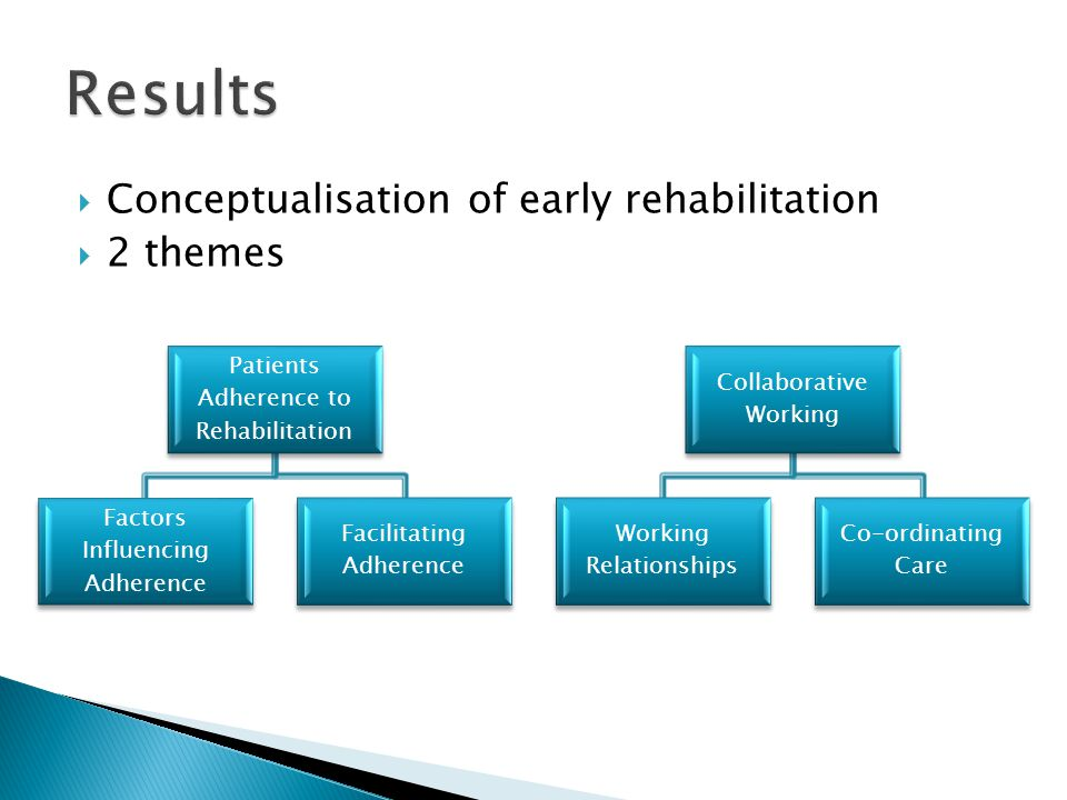  Conceptualisation of early rehabilitation  2 themes Patients Adherence to Rehabilitation Factors Influencing Adherence Facilitating Adherence Collaborative Working Working Relationships Co-ordinating Care