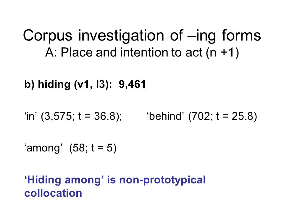 b) hiding (v1, l3): 9,461 'in' (3,575; t = 36.8); 'behind' (702; t = 25.8) 'among' (58; t = 5) 'Hiding among' is non-prototypical collocation Corpus investigation of –ing forms A: Place and intention to act (n +1)