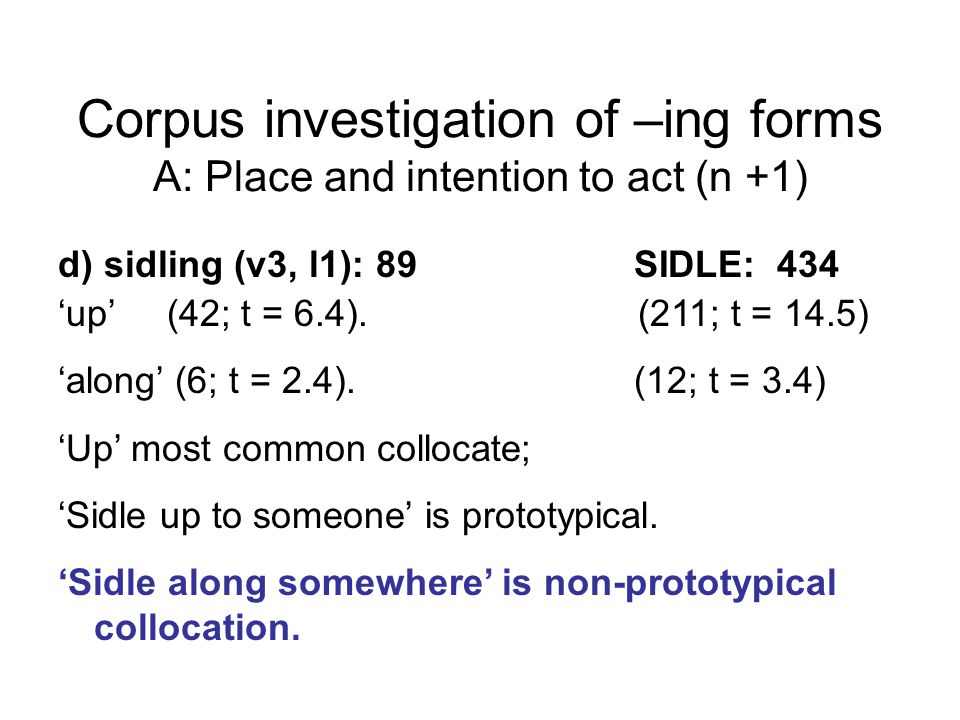 Corpus investigation of –ing forms A: Place and intention to act (n +1) d) sidling (v3, l1): 89 SIDLE: 434 'up' (42; t = 6.4).