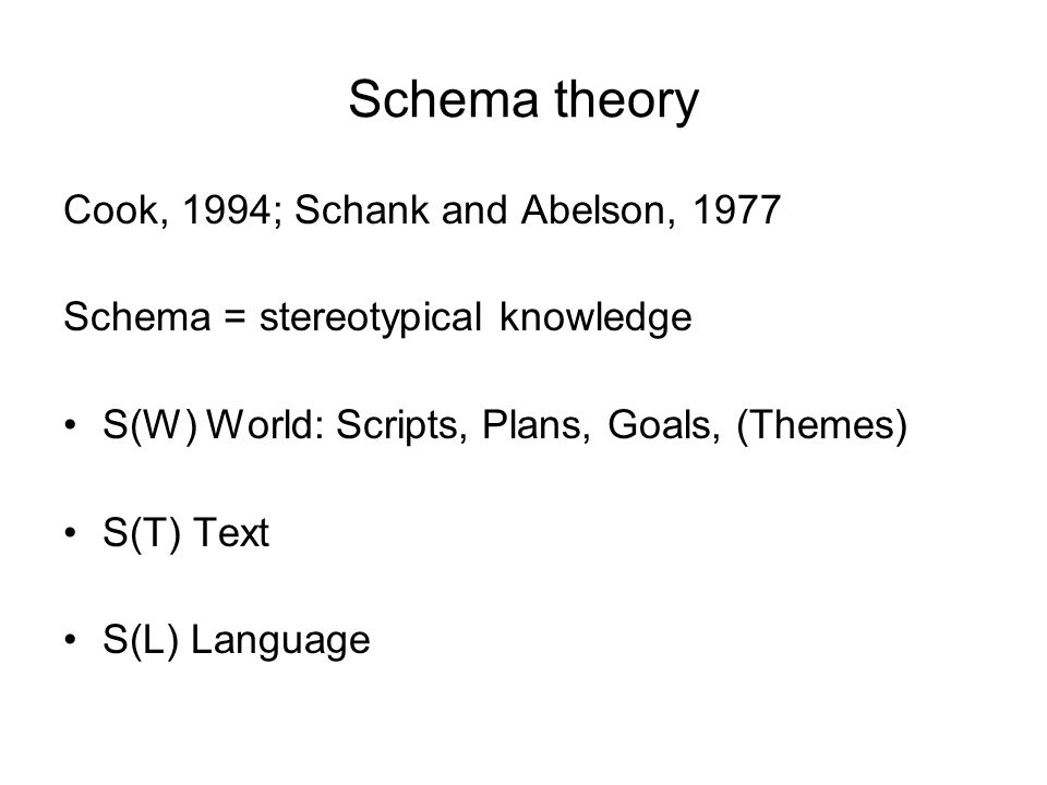 Schema theory Cook, 1994; Schank and Abelson, 1977 Schema = stereotypical knowledge S(W) World: Scripts, Plans, Goals, (Themes) S(T) Text S(L) Language
