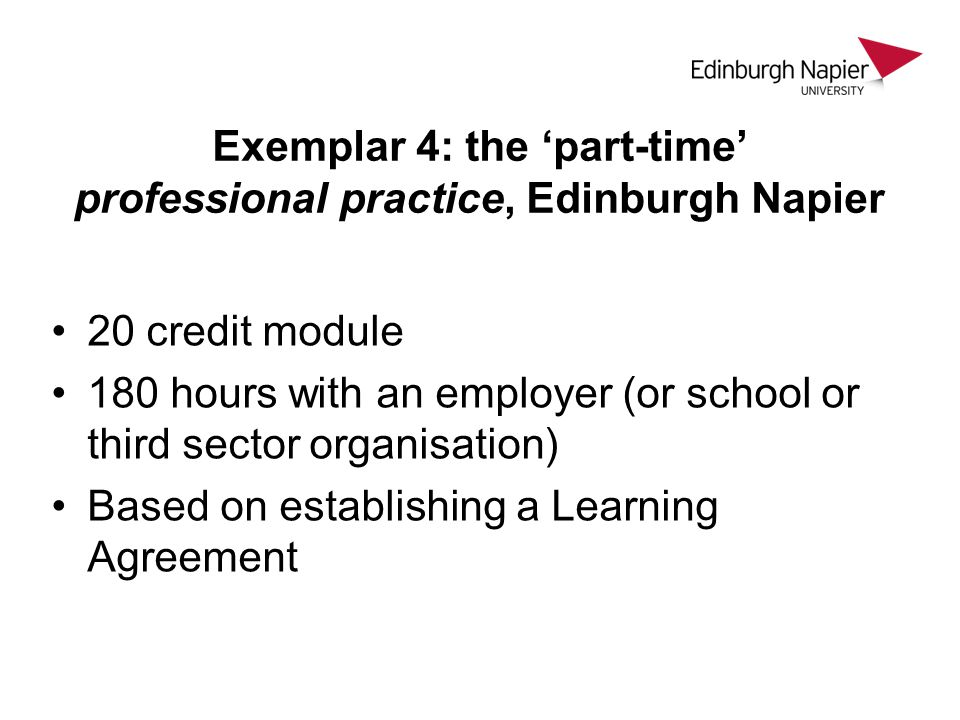 Exemplar 4: the 'part-time' professional practice, Edinburgh Napier 20 credit module 180 hours with an employer (or school or third sector organisatio