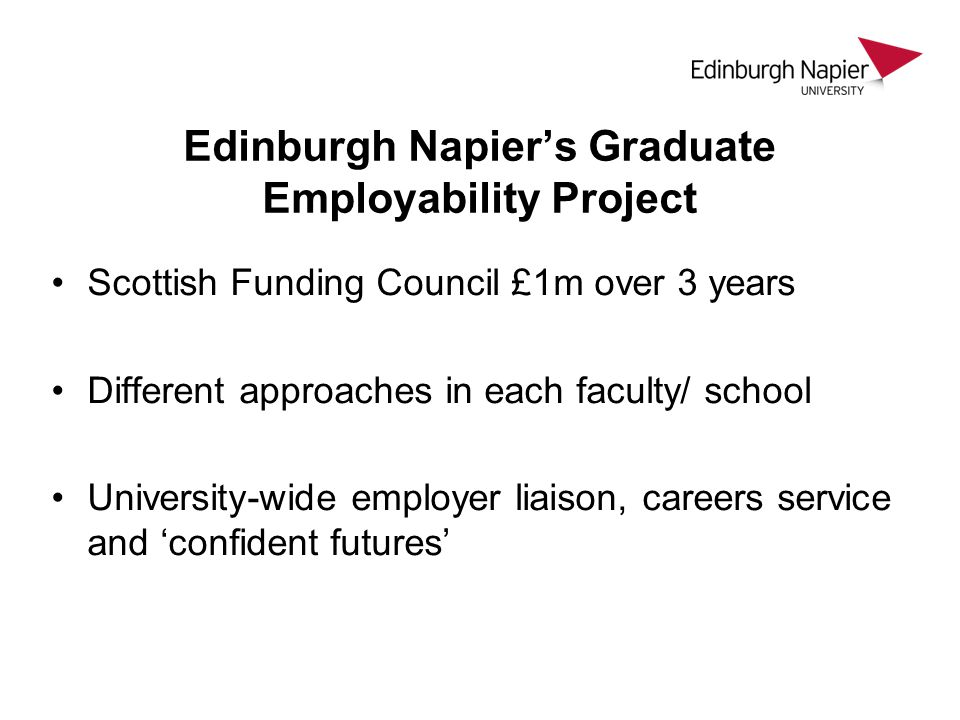Edinburgh Napier's Graduate Employability Project Scottish Funding Council £1m over 3 years Different approaches in each faculty/ school University-wide employer liaison, careers service and 'confident futures'