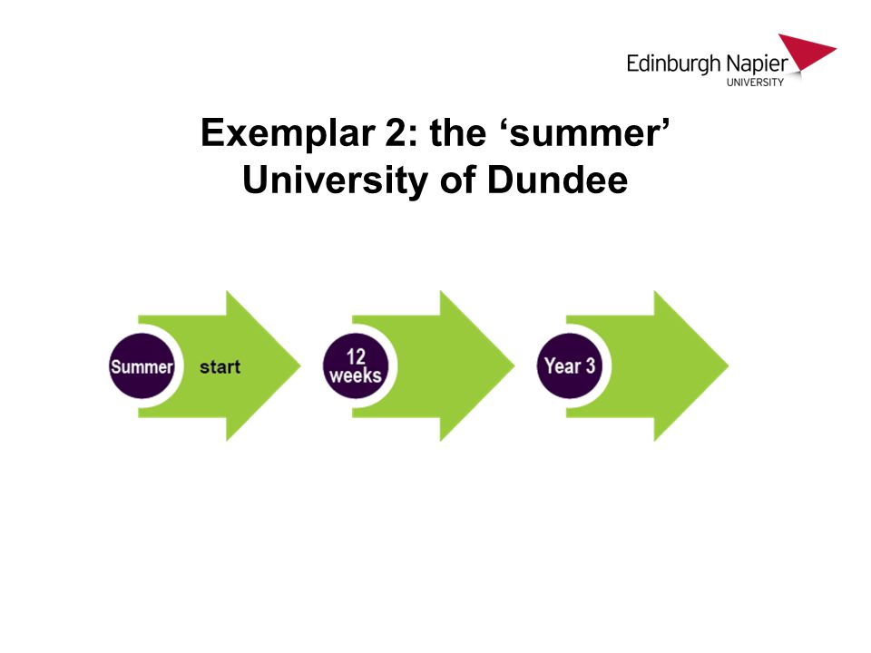 Exemplar 2: the 'summer' University of Dundee