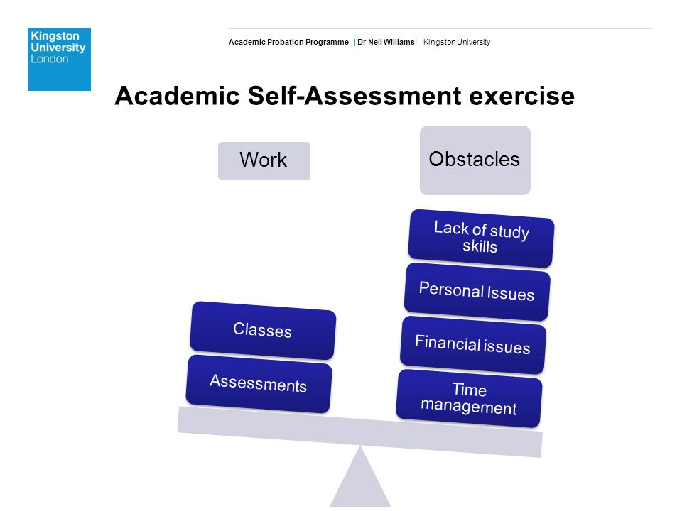 Academic Probation Programme | Dr Neil Williams| Kingston University Work Obstacles Time management Financial issuesPersonal Issues Lack of study skills AssessmentsClasses Academic Self-Assessment exercise