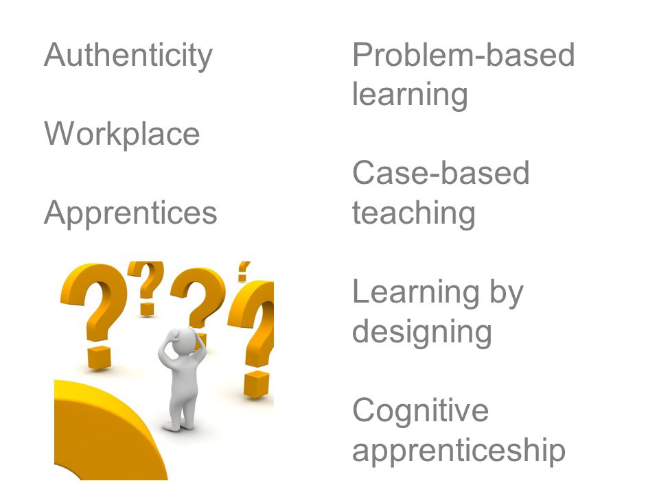 Authenticity Workplace Apprentices Problem-based learning Case-based teaching Learning by designing Cognitive apprenticeship