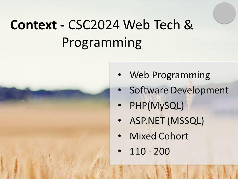 Context - CSC2024 Web Tech & Programming Web Programming Software Development PHP(MySQL) ASP.NET (MSSQL) Mixed Cohort 110 - 200