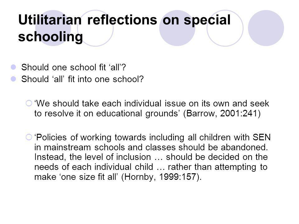 Utilitarian reflections on special schooling Should one school fit 'all'.