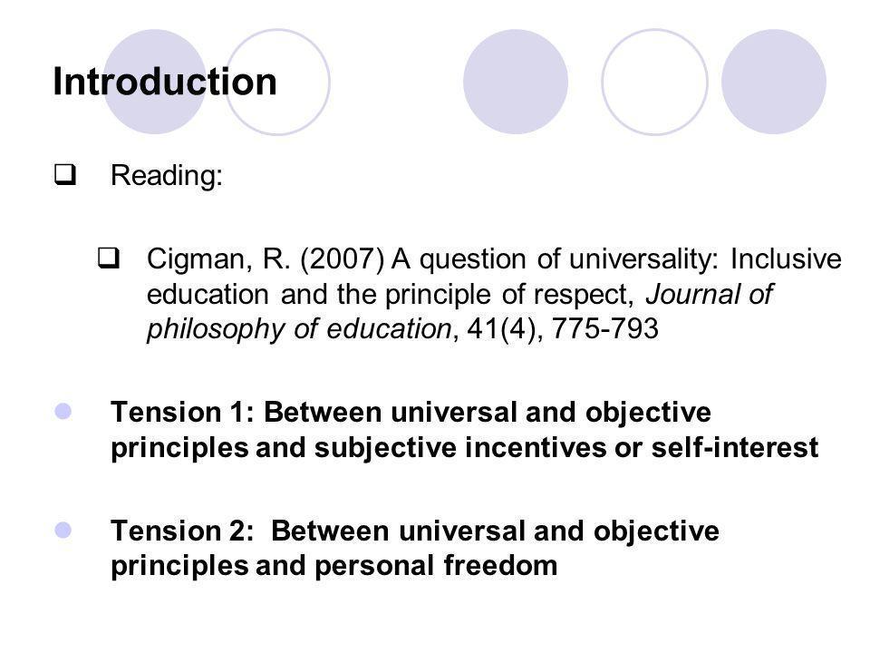Introduction  Reading:  Cigman, R.