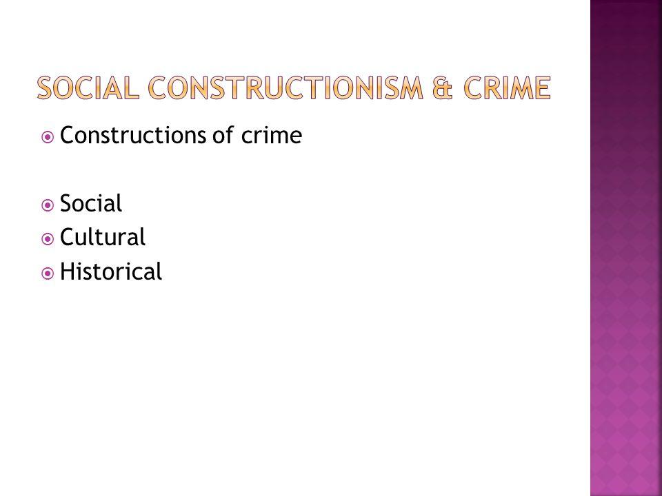  Constructions of crime  Social  Cultural  Historical