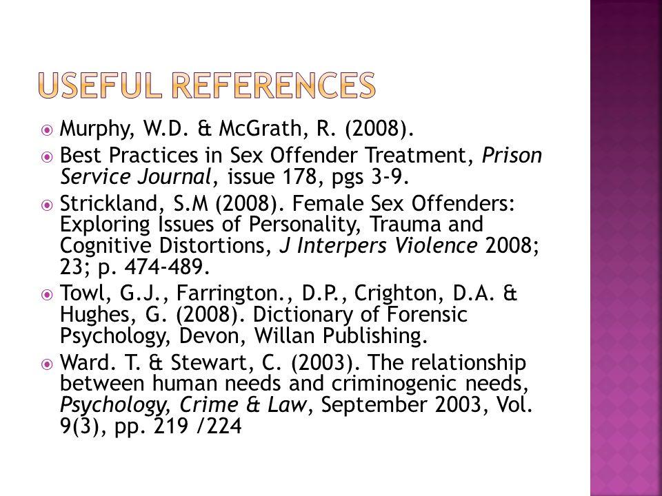  Murphy, W.D. & McGrath, R. (2008).