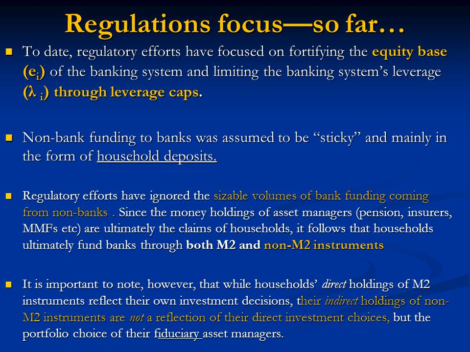 Regulations focus—so far… To date, regulatory efforts have focused on fortifying the equity base (e i ) of the banking system and limiting the banking